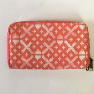 💋Target zip wallet Coral faux leather geometric S